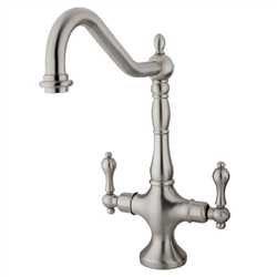 Kingston Brass KS1778ALLS Heritage Single Hole Two Handle Kitchen Faucet - Satin Nickel