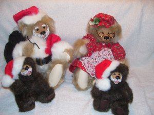 Kimbearly's Originals Santa Mrs. Claus Cubs Resin Face Bears