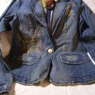 American Exchange Denim Butterfly Fitted Blazer Jacket Junior M Med