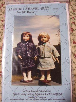 "Sashiko Travel Suit Pattern for 18"" Doll Cloths Shirley Holmes SH100"