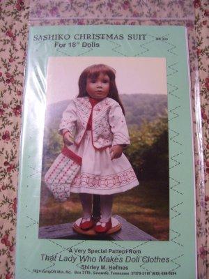 "Sashiko Christmas Suit Pattern for 18"" Doll Cloths SH300 Shirley Holmes"
