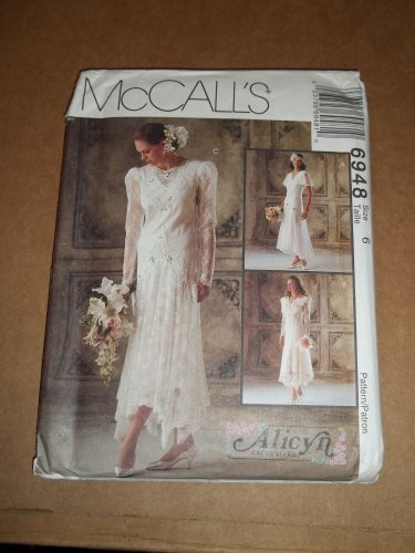 McCall's Alicyn Pattern Wedding and Brides Maid Dress Gown Size 6  Uncut