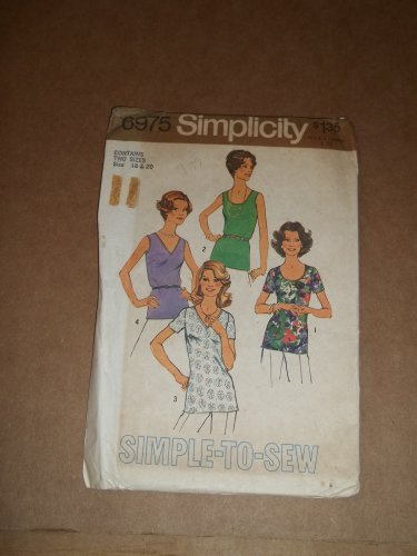 Simplicity Simple To Sew Sleeveless and Short Sleeve Top Pattern 6975 Size 18 20 Uncut