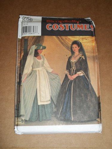 Simplicity Pattern 7756 Midieval Renaissance Costume Dress Size 4 6 8 Uncut
