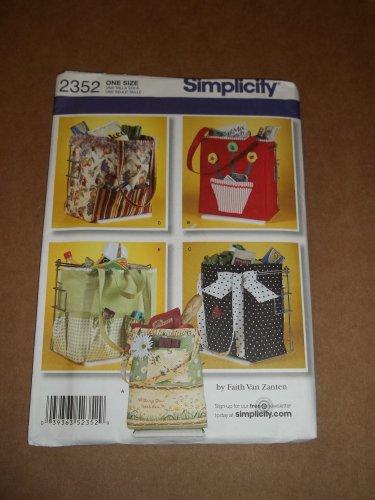 Simplicity Pattern 2352 Shopping Bag Tote Uncut
