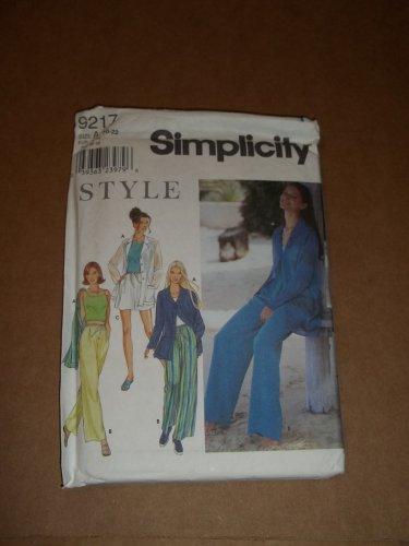 Simplicity Style Pattern 9217 Jacket Pants Shorts Top Size 10-22 Uncut OOP