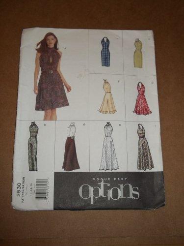 Vogue Easy Options Dress Pattern 2530 Size 12 14 16 Uncut