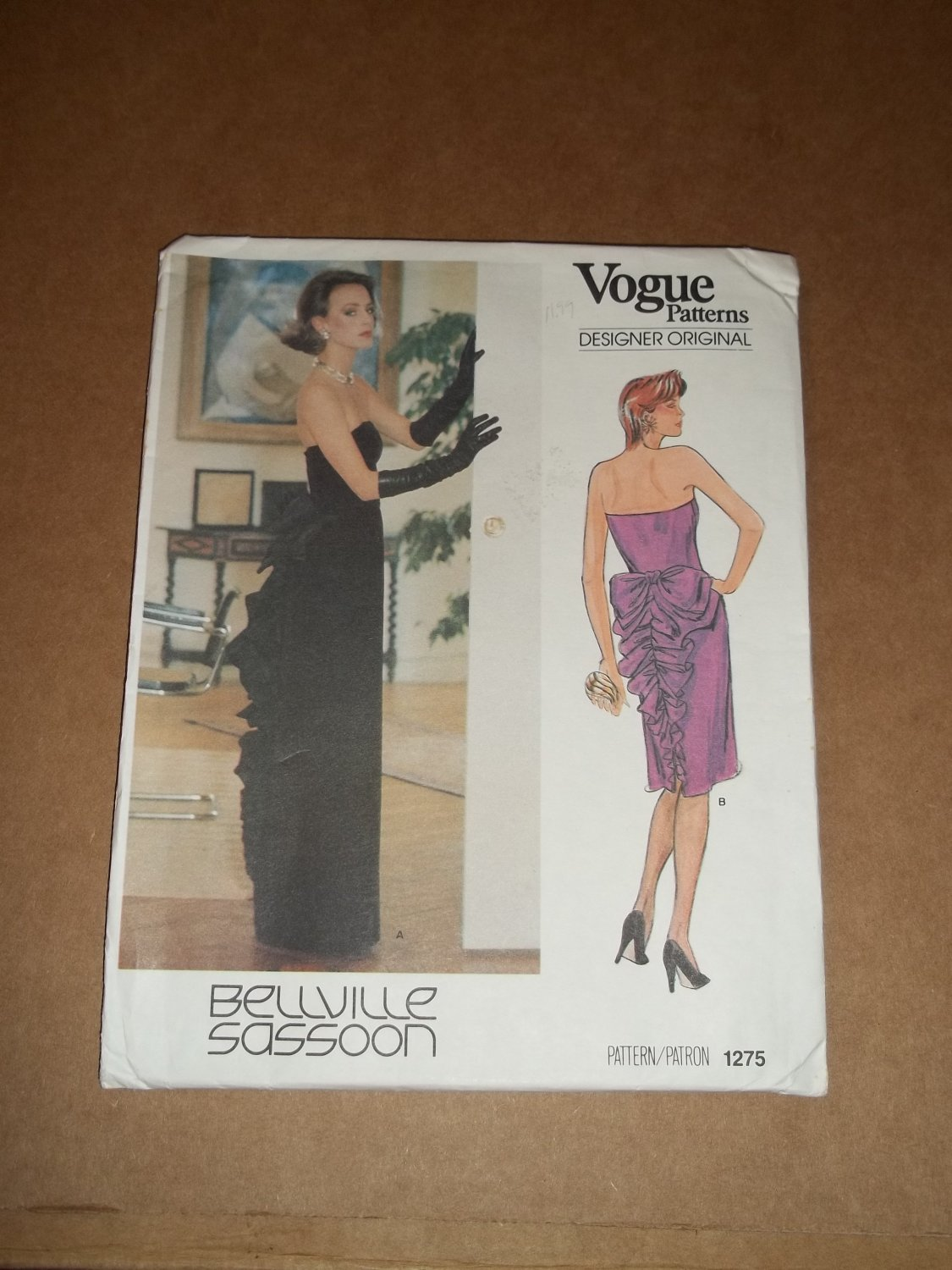 Vogue Designer Original Formal Dress Pattern 1275 Size 12 Uncut