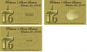 10 Sweet 16 Sixteen Gold Birthday Party Scratch Off Games