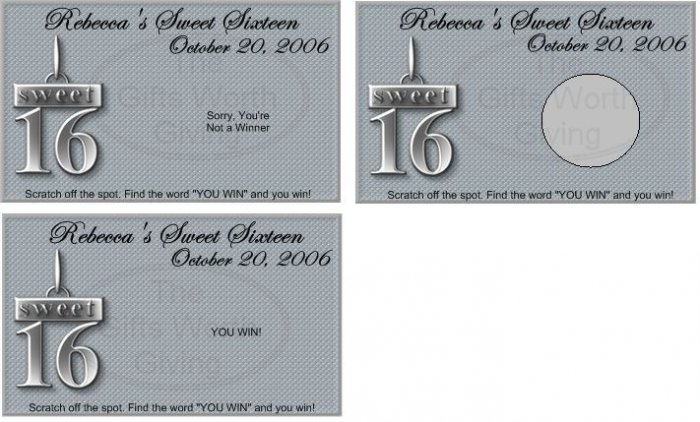 10 Sweet 16 Sixteen Silver Birthday Party Scratch Off Games