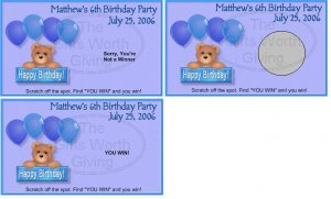 10 Balloons Birthday Bear Birthday Party Scratch Off Game