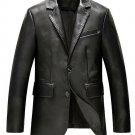 Stylish Two Button Leather Blazer