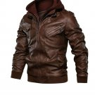 Brown Bomber Leather Jacket with hoodie