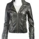 Biker Style Black Leather Jacket