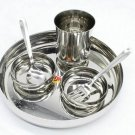 Stainless Steel Dinner Thali Set - 6 Pieces, Silver