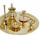 Indian Handmade Pooja Thali Set Gold color