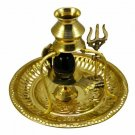Indian Handmade Shivling Statue Brass Stand with Thali Gold color Active