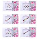Lady Fashion Multi Color Nug Border Fashionable Bindi Combo of 6 Pcs (R7)
