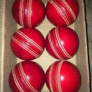 Leather Cricket Ball Red Color A Grade Hand Stitched Practice Cricket Hard Balls - Pack Of 6 Balls