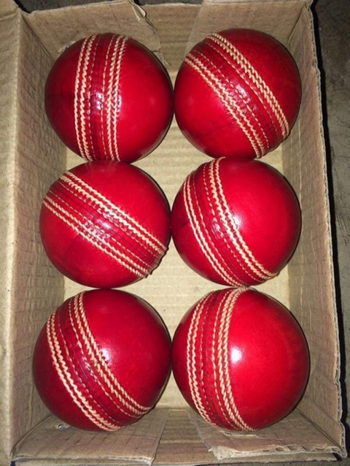 Leather Cricket Ball Red Color A Grade Hand Stitched Practice Cricket Hard Balls - Pack Of 9 Balls