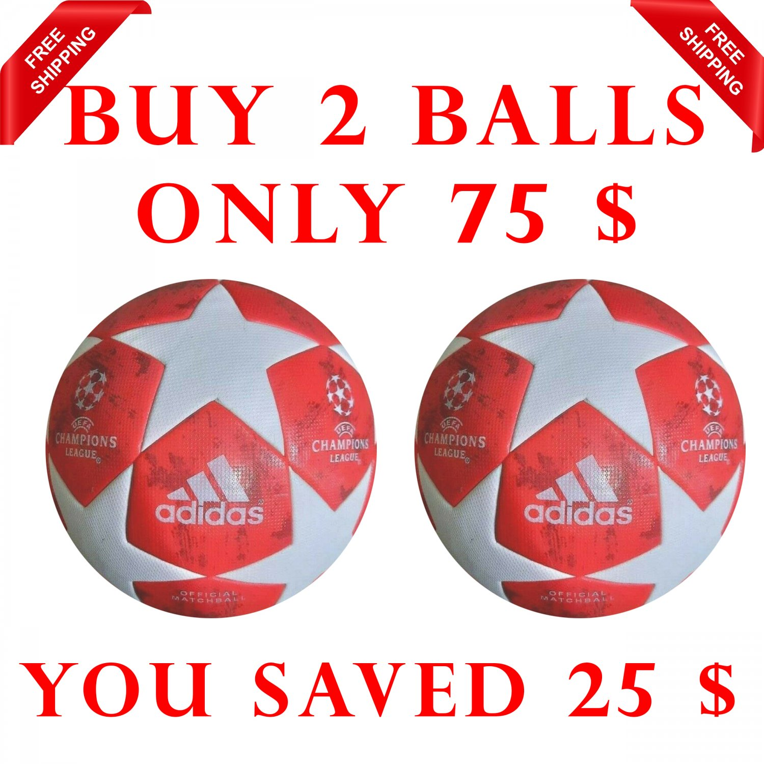 Sale Buy 2 ADIDAS UEFA CHAMPIONS LEAGUE 2018-19 SOCCER MATCH BALL RED COLOUR SIZE 5