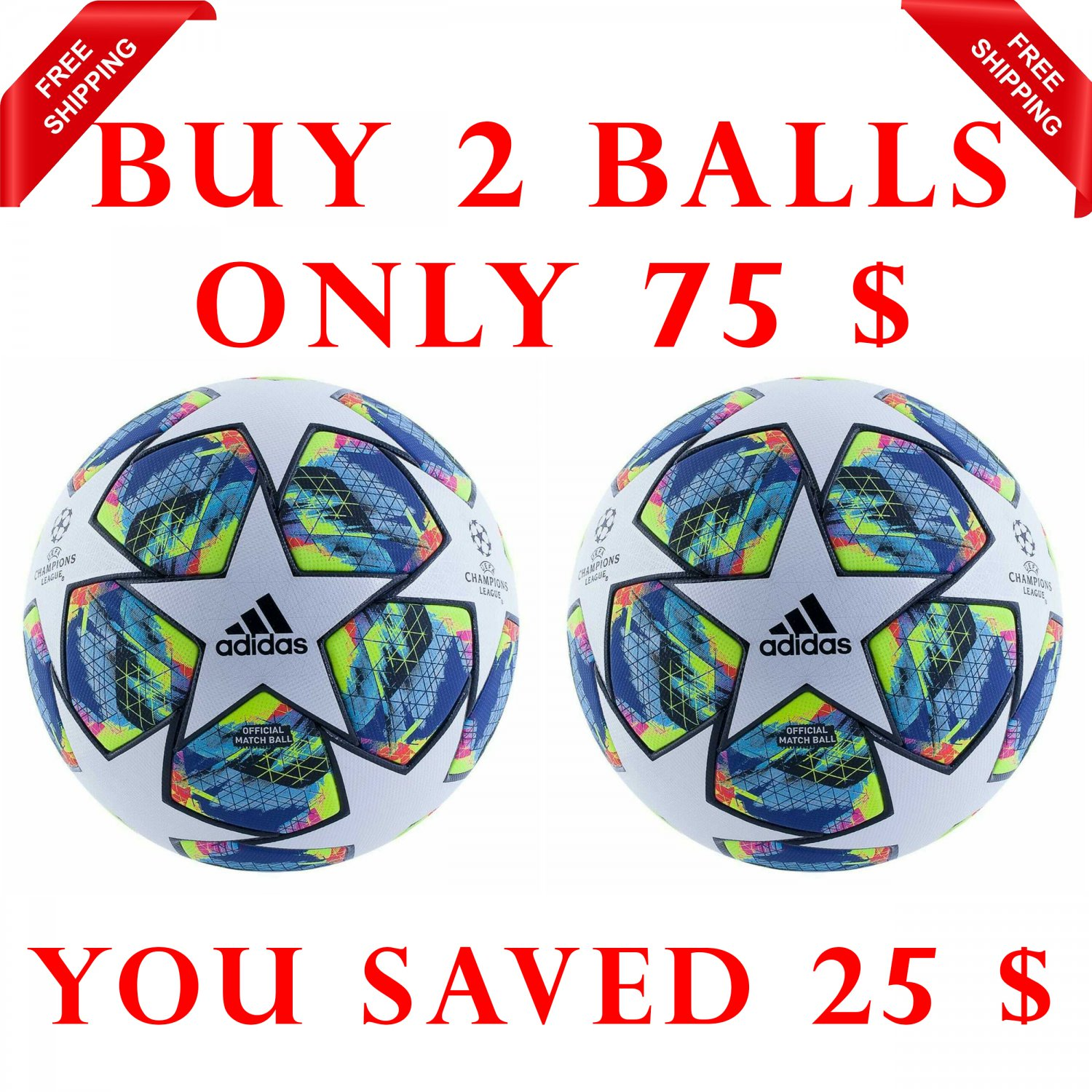 Sale Buy 2 Adidas Champions League Final Authentic 2019-20 SOCCER MATCH BALL 5