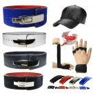 """Real Leather 4""""  Weightlifting - Powerlifting GYM BELT with Free Leather Cap & Gloves"""