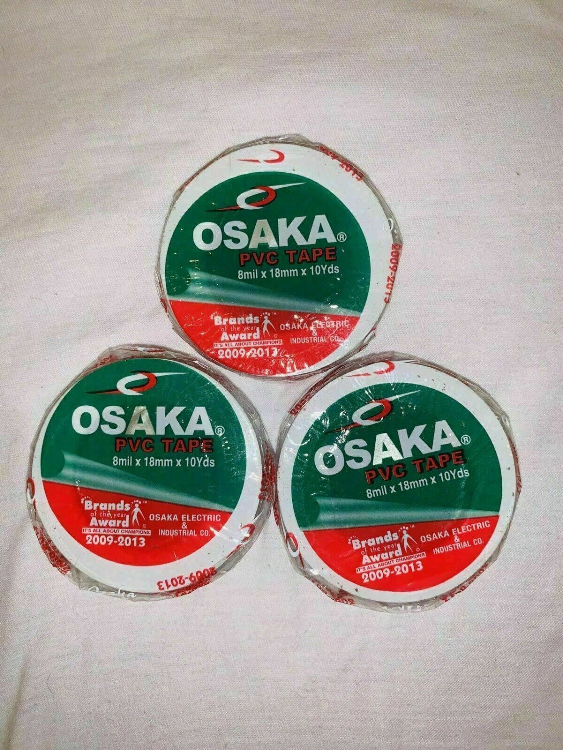 Osaka PVC Tape Roll Cricket Tennis White Packet 8 Mil x 18mm x 10yds Pack of 10