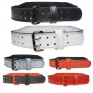 """Real Leather 4""""  Weightlifting BACK SUPPORT Belt Gym Power Training Fitness Belt - Size (S - XL)"""