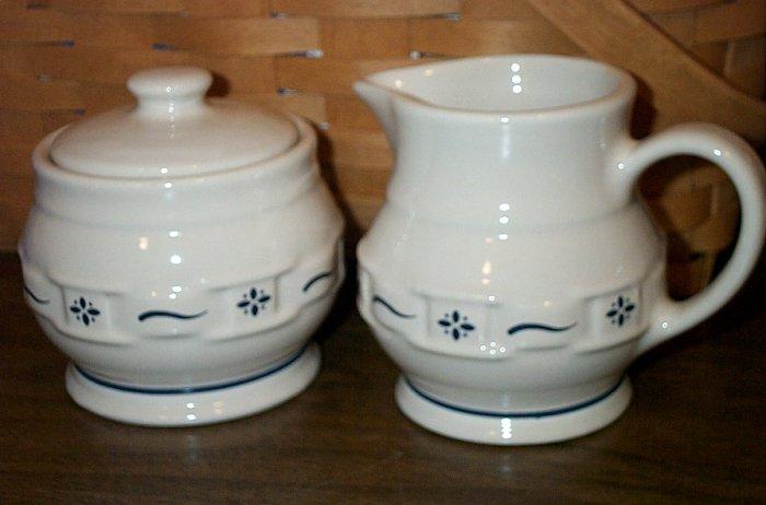 Retired Longaberger Blue Pottery Cream & Sugar Set