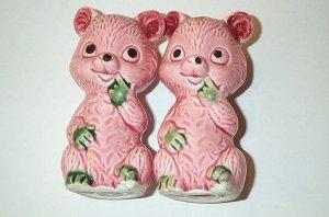Vintage Porcelain Cute Pink Green Bears Salt Pepper