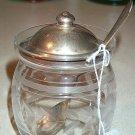 Crystal Cut Glass Condiment Jar W/ Sterling Lid & Spoon