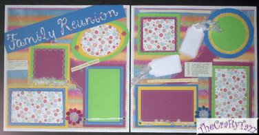 """CREATIVE PAPER PIERCING PREMADE SCRAPBOOK PAGES  """"FAMILY REUNION"""" CHQD"""