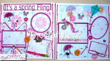 """Premade scrapbook 12x12 pages """"Spring Fling"""" layout"""