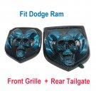 Blue head Emblem Medallion Satin Skull fits Dodge Ram 1500 2500 3500 13-18 Tailgate + Grille