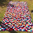 Beautiful colorful morrocan vintage tribal handwoven azilal Boucherouit rug,area shaggy carpet