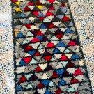 morrocan vintage traditional handwoven azilal Boucherouit rug,area runner soft carpet