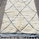 Beni Ourain Vintage Moroccan Hand Knotted Wool Cream Black Area Rug 5.90X4.50