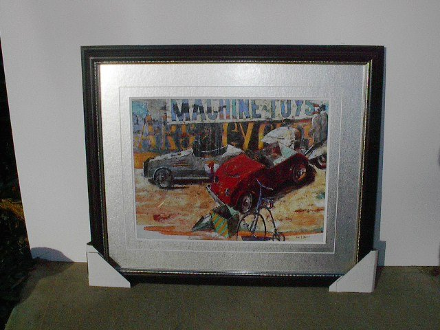 Machine Toys Framed Print with Silver Matting