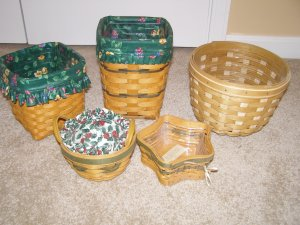 Longaberger Peppermint Tree Trimming Basket with liner and protector