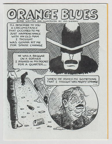 ORANGE BLUES mini-comic JIM SIERGEY 1982 newave comix