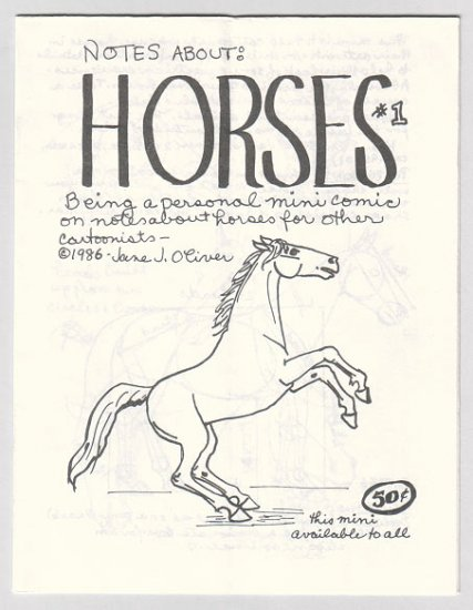 NOTES ABOUT HORSES mini-comic JANE J. OLIVER 1986 comix