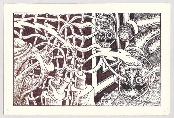 original art EXQUISITE CORPSE #6 Michael Dowers 1985