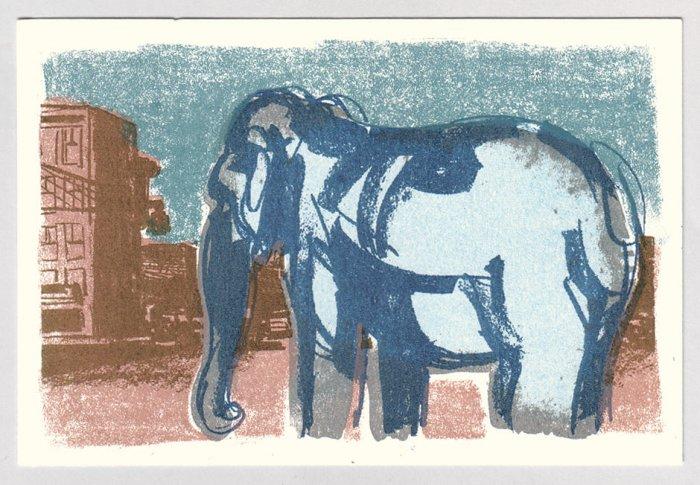 ELEPHANT silkscreen Gocco print by Sean Bieri