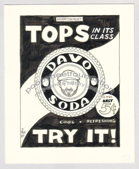 original art DAVID TOSH retro soda pop ad 1987