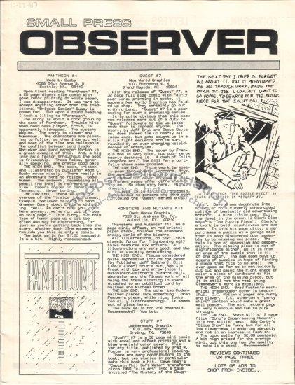 SMALL PRESS OBSERVER Vol. 1, #1 mini-comic reviewzine KEVIN COLLIER 1987