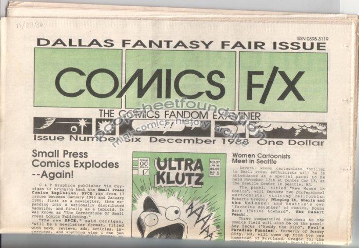 COMICS FX #6 mini-comix reviewzine BRUCE SWEENEY Matt Howarth D. TOSH 1988
