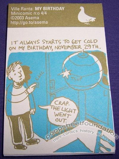 ASEMA MINICOMIC #4: MY BIRTHDAY Finnish mini-comic VILLE RANTA 2003