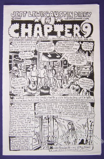 JEFF LEWIS' AUSTIN DIARY #9 mini-comic JEFFREY LEWIS Texas 2000