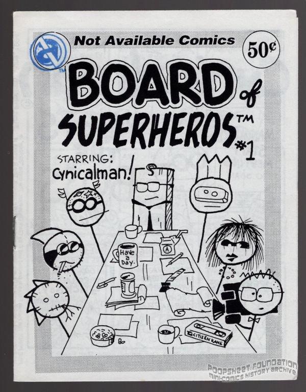 BOARD OF SUPERHEROS #1 mini-comic MATT FEAZELL superheroes 1994